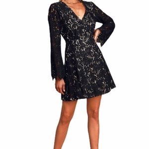 NWT Lulus With All My Heart Black Lace Wrap Dress
